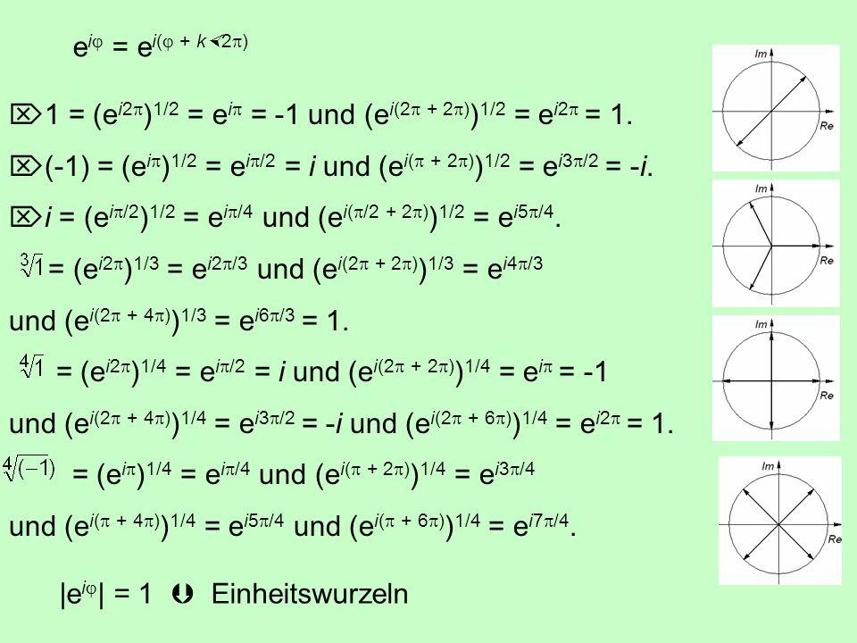 Die Multiplikation einer komplexen Zahl mit i = e i /2 dreht den Vektor um /2 = 90°: e i i = e i e i /2 = e i( + /2) z 1 z 2 = |z 1 | e i 1 |z 2 | e i