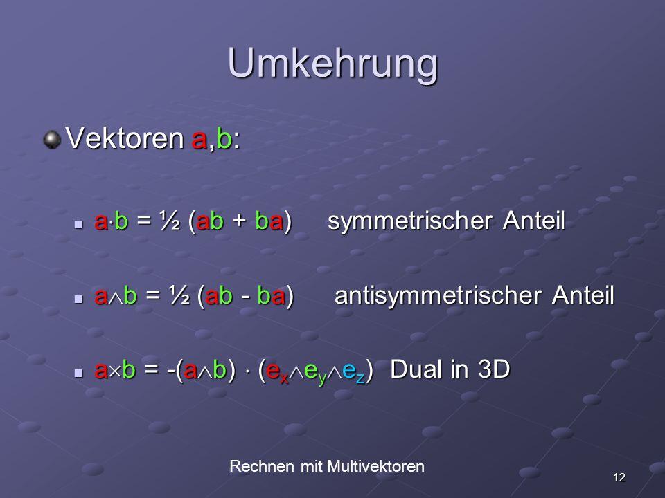 12 Umkehrung Vektoren a,b: a b = ½ (ab + ba) symmetrischer Anteil a b = ½ (ab + ba) symmetrischer Anteil a b = ½ (ab - ba) antisymmetrischer Anteil a