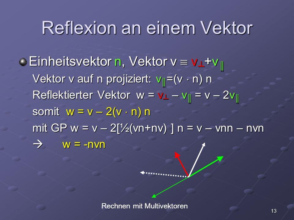 13 Reflexion an einem Vektor Einheitsvektor n, Vektor v v +v Einheitsvektor n, Vektor v v +v Vektor v auf n projiziert: v =(v n) n Reflektierter Vekto