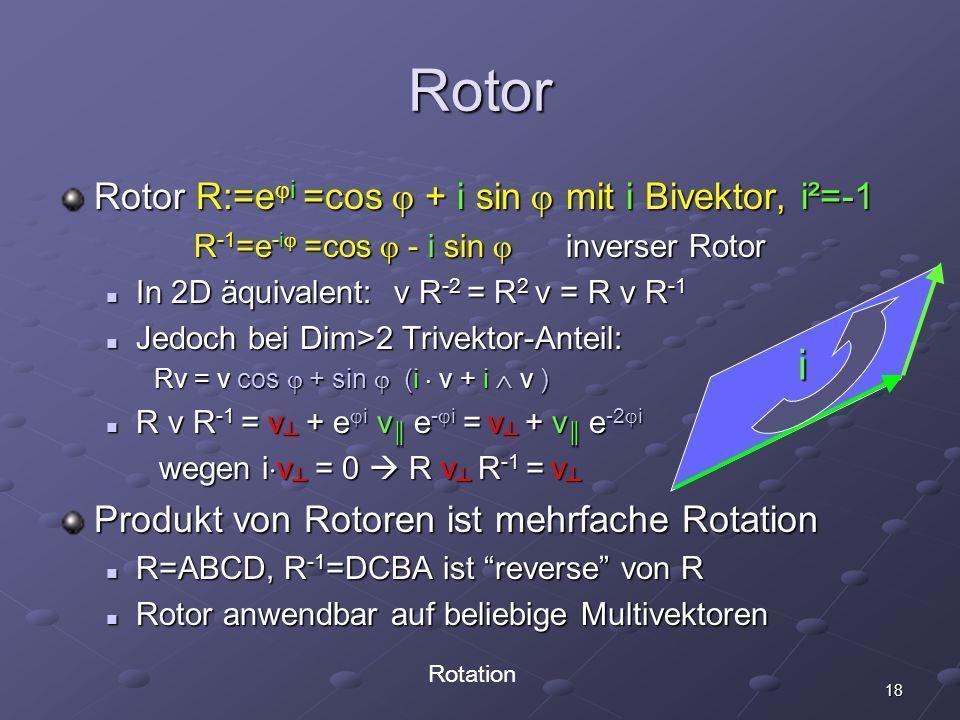 18 Rotor Rotor R:=e i =cos + i sin mit i Bivektor, i²=-1 R -1 =e -i =cos - i sin inverser Rotor R -1 =e -i =cos - i sin inverser Rotor In 2D äquivalen