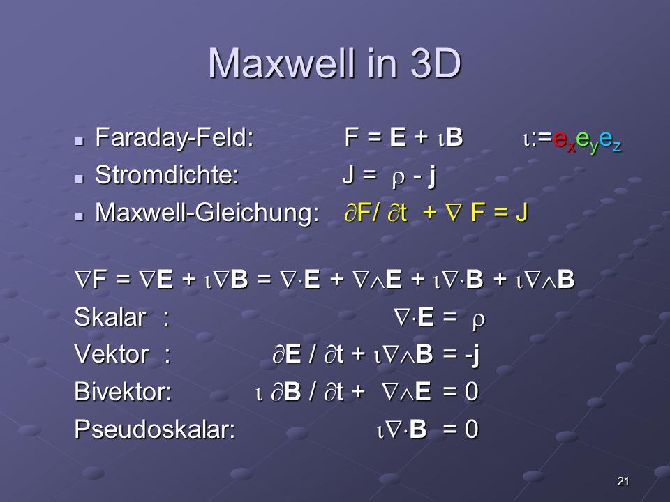 21 Maxwell in 3D Faraday-Feld: F = E + B :=e x e y e z Faraday-Feld: F = E + B :=e x e y e z Stromdichte: J = - j Stromdichte: J = - j Maxwell-Gleichu