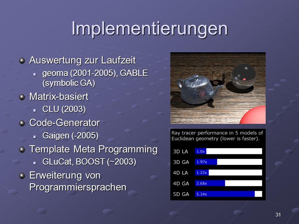 31 Implementierungen Auswertung zur Laufzeit geoma (2001-2005), GABLE (symbolic GA) geoma (2001-2005), GABLE (symbolic GA)Matrix-basiert CLU (2003) CL