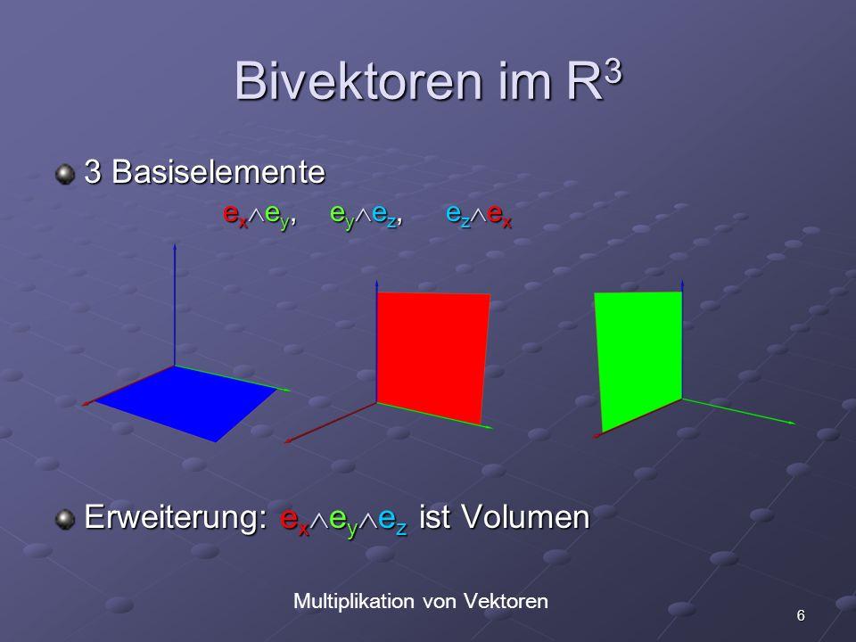 17 Allgemeine Rotation in 2D Mehrfache Rotation e x i i = (e x i) i = e y i = -e x = -1 e x Beliebiger Vektor: (A x e x + A y e y ) i = A x e x i + A y e y i = A x e y - A y e x Rotation um beliebigen Winkel: A cos + A i sin A e i A cos + A i sin A e i rotiert Vektor A um Winkel in Fläche i rotiert Vektor A um Winkel in Fläche i Rotation