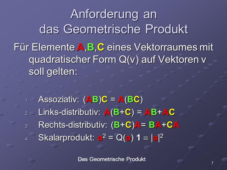 7 Anforderung an das Geometrische Produkt Für Elemente A,B,C eines Vektorraumes mit quadratischer Form Q(v) auf Vektoren v soll gelten: 1. Assoziativ: