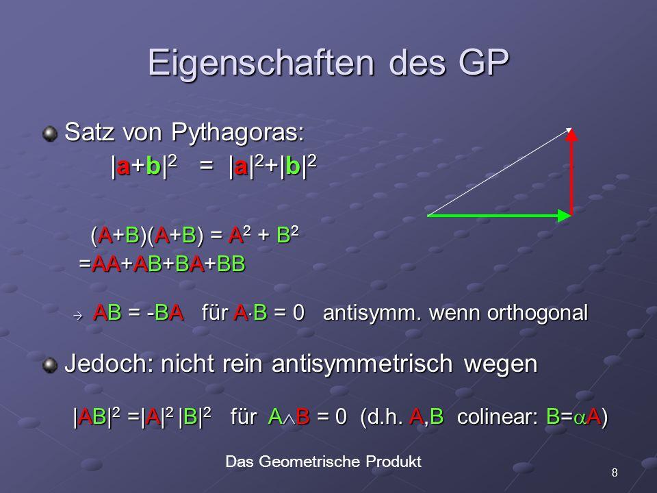 8 Eigenschaften des GP Satz von Pythagoras: |a+b| 2 = |a| 2 +|b| 2 |a+b| 2 = |a| 2 +|b| 2 (A+B)(A+B) = A 2 + B 2 (A+B)(A+B) = A 2 + B 2 =AA+AB+BA+BB =