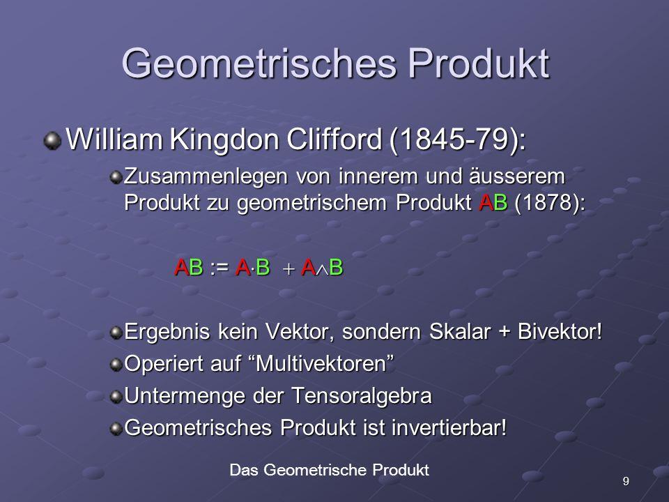 10 Multivektorkomponenten R 2 : A = A 0 + A 1 e 0 + A 2 e 1 + A 3 e 0 e 1 R 3 : A = A 0 A 0+ A 1 e 0 + A 2 e 1 + A 3 e 2 + A 4 e 0 e 1 +A 5 e 1 e 2 +A 6 e 0 e 2 + A 7 e 0 e 1 e 2 A 7 e 0 e 1 e 2 Struktur von Multivektoren 2.7819… ++ ++ + + +