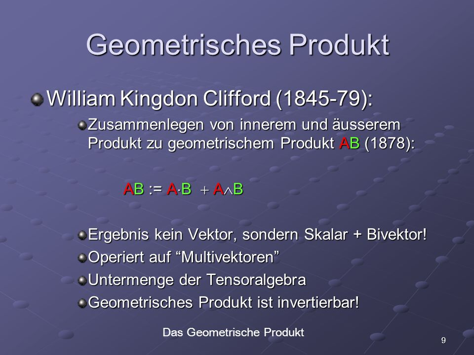 30 Objekte in Konformer 5D GA Punkt x + e 0 + |x| 2 /2 e x + e 0 + |x| 2 /2 e Paar von Punkten a b Linie a b e a b e Kreis a b c Ebene a b c e a b c e Kugel a b c d