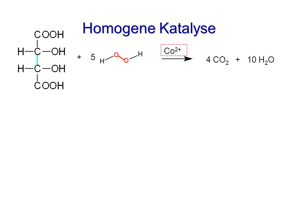 Homogene Katalyse + 5 4 CO 2 + 10 H 2 O Co 2+ Aktivierter Komplex Co O O