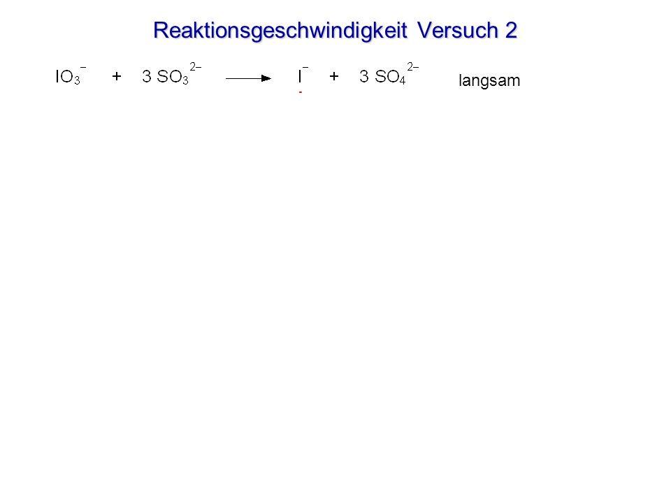 Reaktionsgeschwindigkeit Versuch 2 Wenn kein Sulfit mehr vorhanden ist, färbt das Iod die beigefügte Stärke blau-violett. langsam