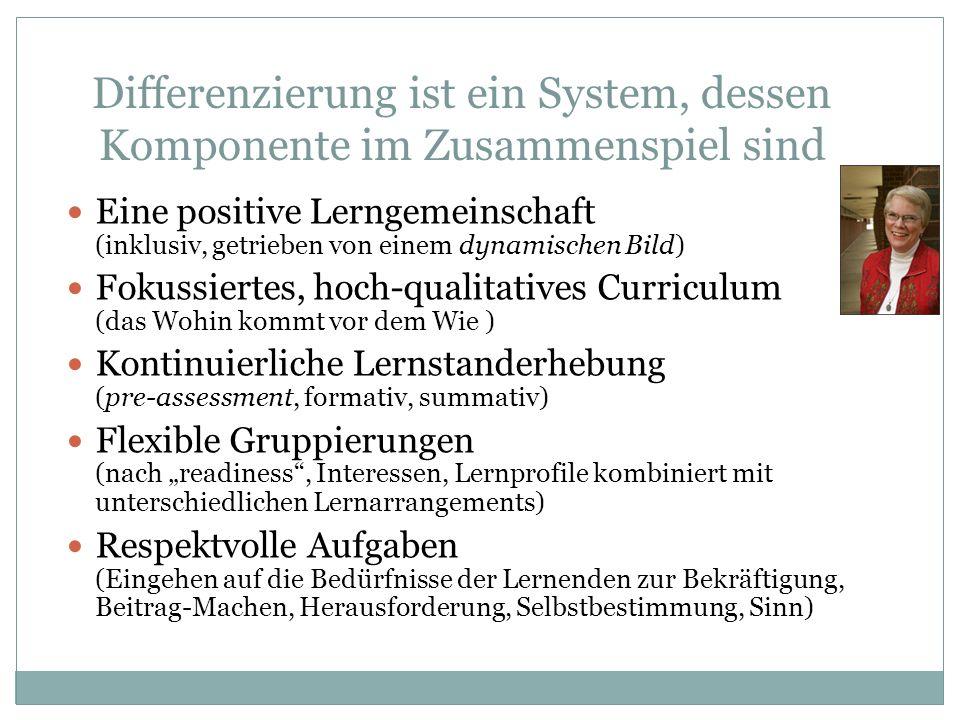 Differenzierung ist ein System, dessen Komponente im Zusammenspiel sind Eine positive Lerngemeinschaft (inklusiv, getrieben von einem dynamischen Bild