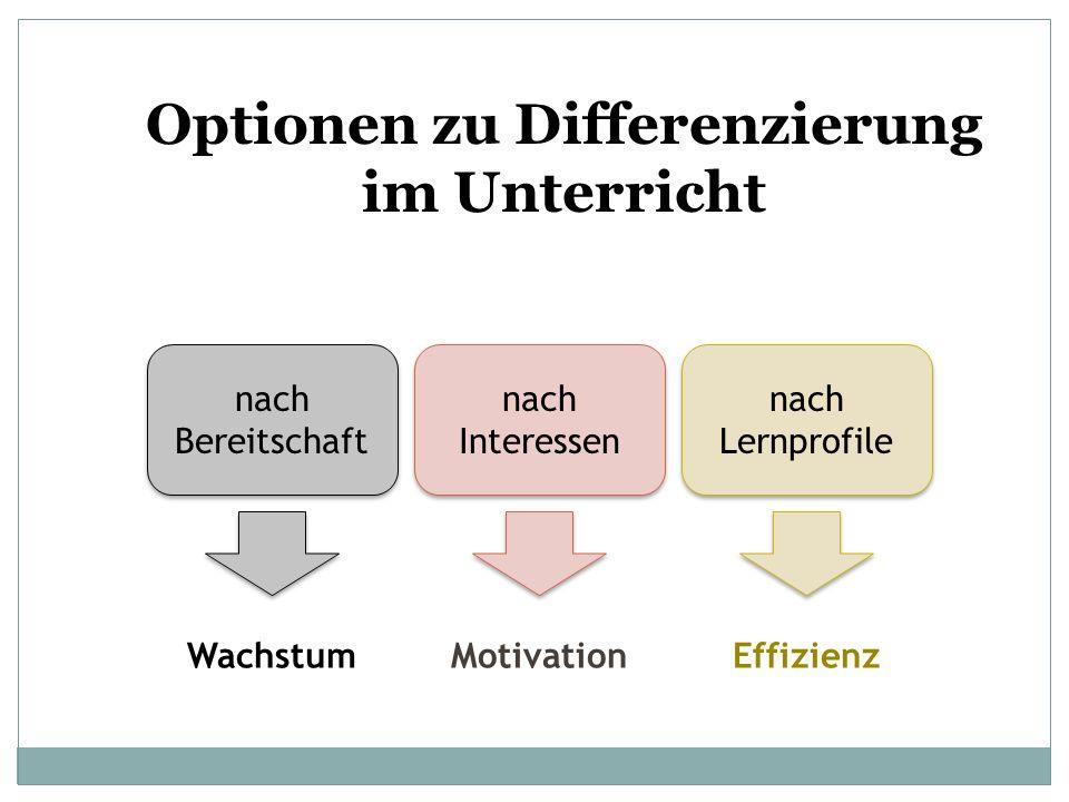 Optionen zu Differenzierung im Unterricht nach Bereitschaft nach Interessen nach Lernprofile WachstumMotivationEffizienz