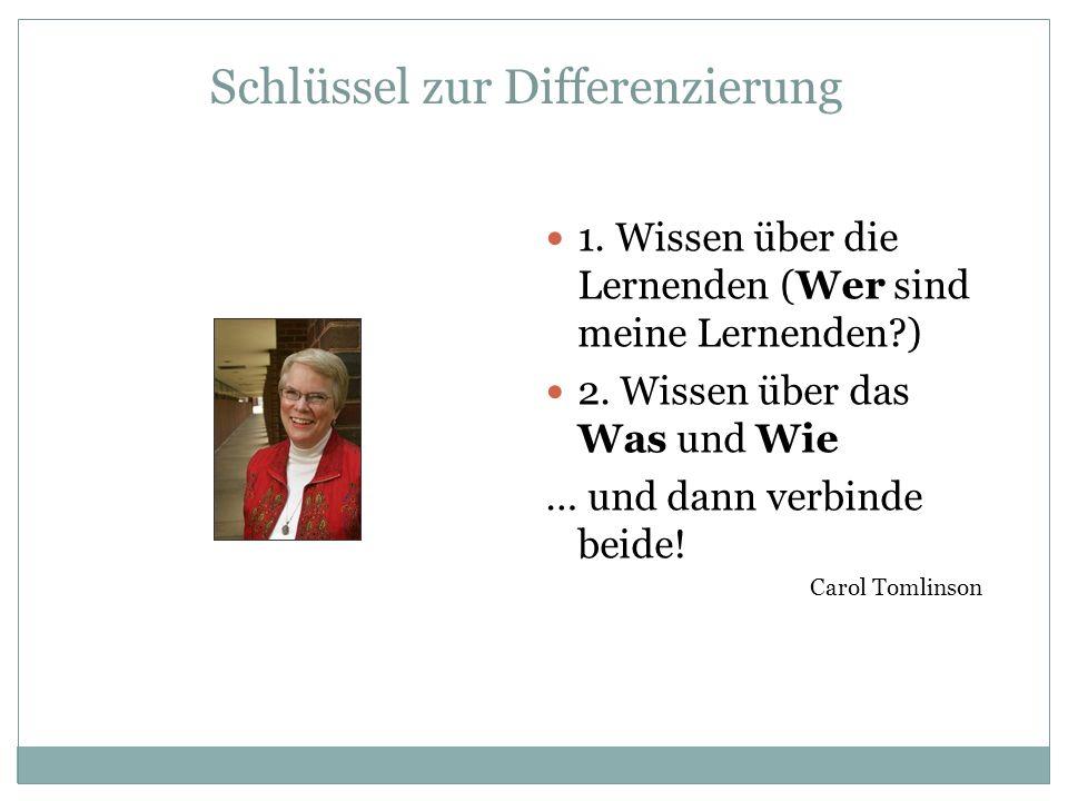 Schlüssel zur Differenzierung 1. Wissen über die Lernenden (Wer sind meine Lernenden?) 2. Wissen über das Was und Wie … und dann verbinde beide! Carol