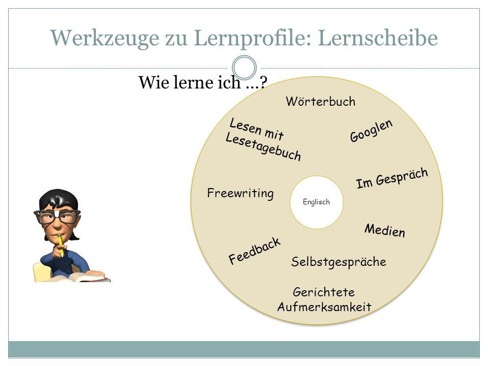 Werkzeuge zu Lernprofile: Lernscheibe Wie lerne ich …? Englisch Googlen Im Gespräch Lesen mit Lesetagebuch Freewriting Medien Feedback Selbstgespräche