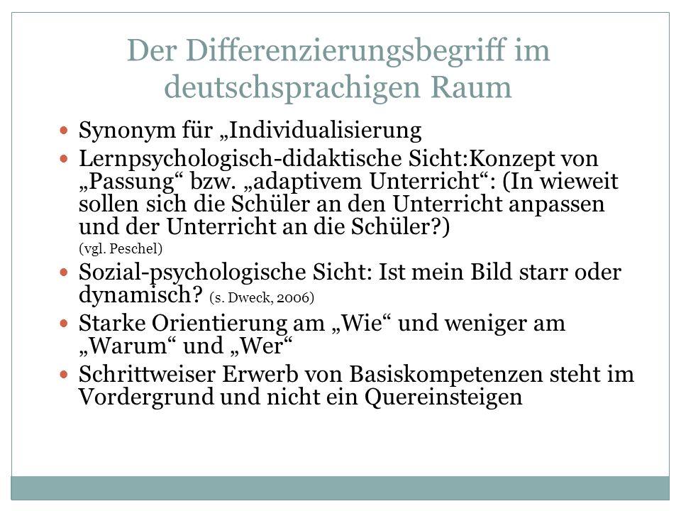 Der Differenzierungsbegriff im deutschsprachigen Raum Synonym für Individualisierung Lernpsychologisch-didaktische Sicht:Konzept von Passung bzw. adap