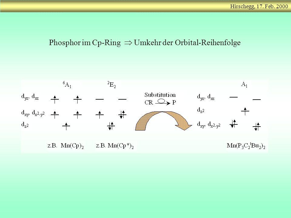 Phosphor im Cp-Ring Umkehr der Orbital-Reihenfolge Hirschegg, 17. Feb. 2000