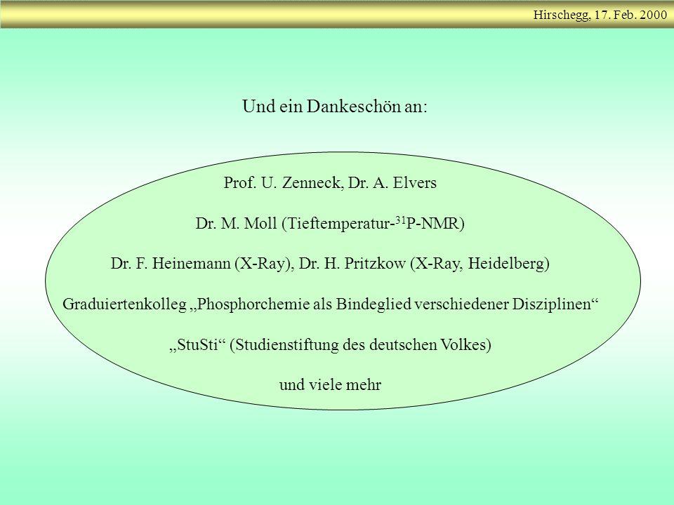 Und ein Dankeschön an: Prof. U. Zenneck, Dr. A. Elvers Dr. M. Moll (Tieftemperatur- 31 P-NMR) Dr. F. Heinemann (X-Ray), Dr. H. Pritzkow (X-Ray, Heidel