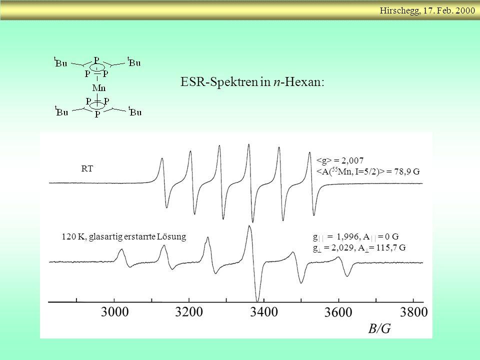 g = 1,996, A = 0 G g = 2,029, A = 115,7 G = 2,007 = 78,9 G RT 120 K, glasartig erstarrte Lösung ESR-Spektren in n-Hexan: Hirschegg, 17. Feb. 2000