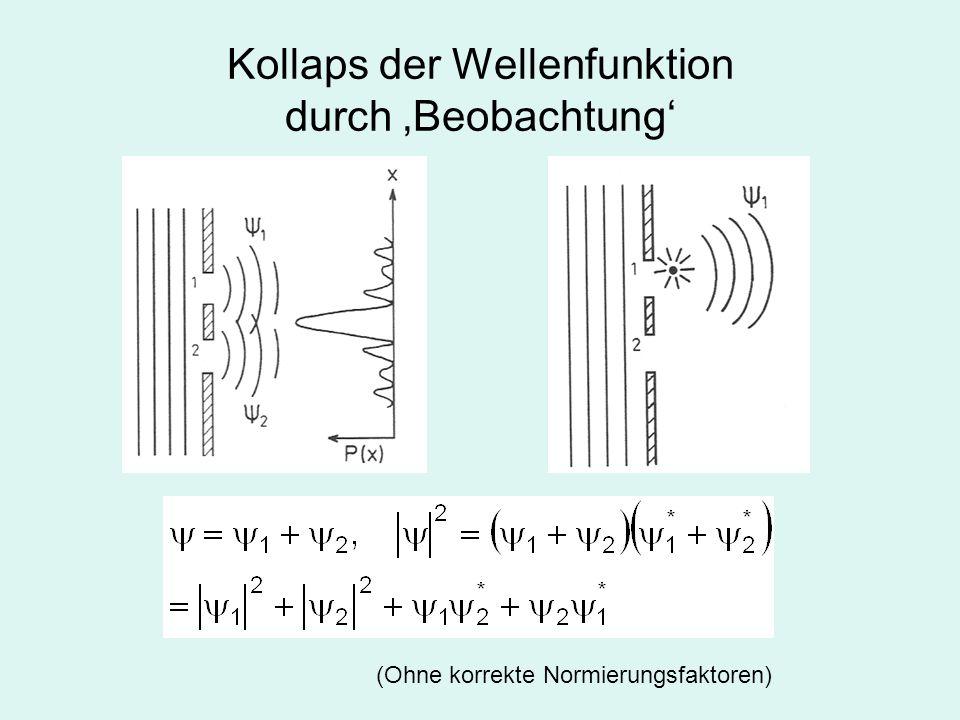 Es braucht keinen bewussten Messprozess für den Kollaps der Wellenfunktion.