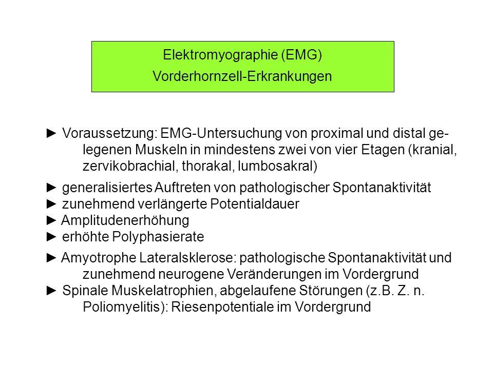 Elektromyographie (EMG) Vorderhornzell-Erkrankungen Voraussetzung: EMG-Untersuchung von proximal und distal ge- legenen Muskeln in mindestens zwei von