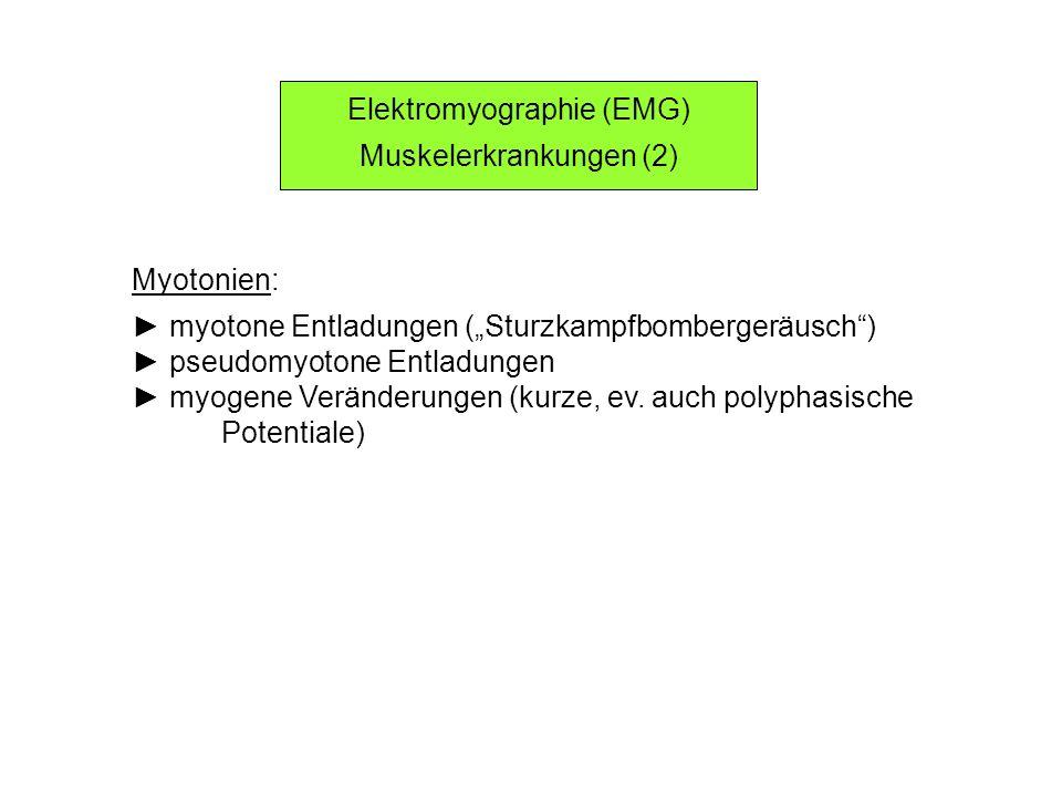 Elektromyographie (EMG) Muskelerkrankungen (2) Myotonien: myotone Entladungen (Sturzkampfbombergeräusch) pseudomyotone Entladungen myogene Veränderung