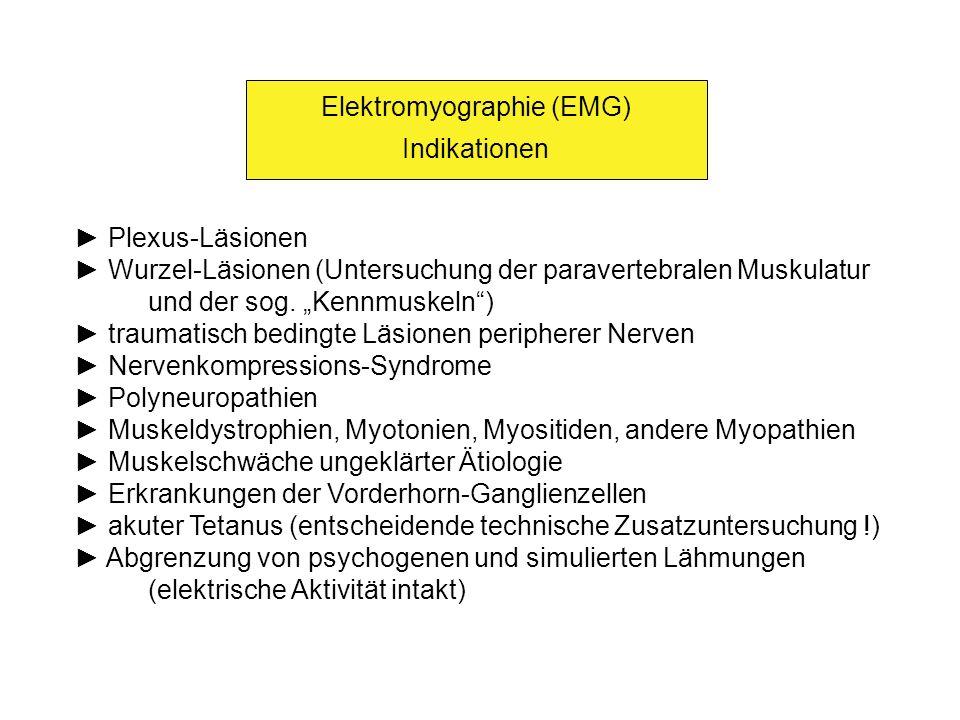 Elektromyographie (EMG) Indikationen Plexus-Läsionen Wurzel-Läsionen (Untersuchung der paravertebralen Muskulatur und der sog. Kennmuskeln) traumatisc
