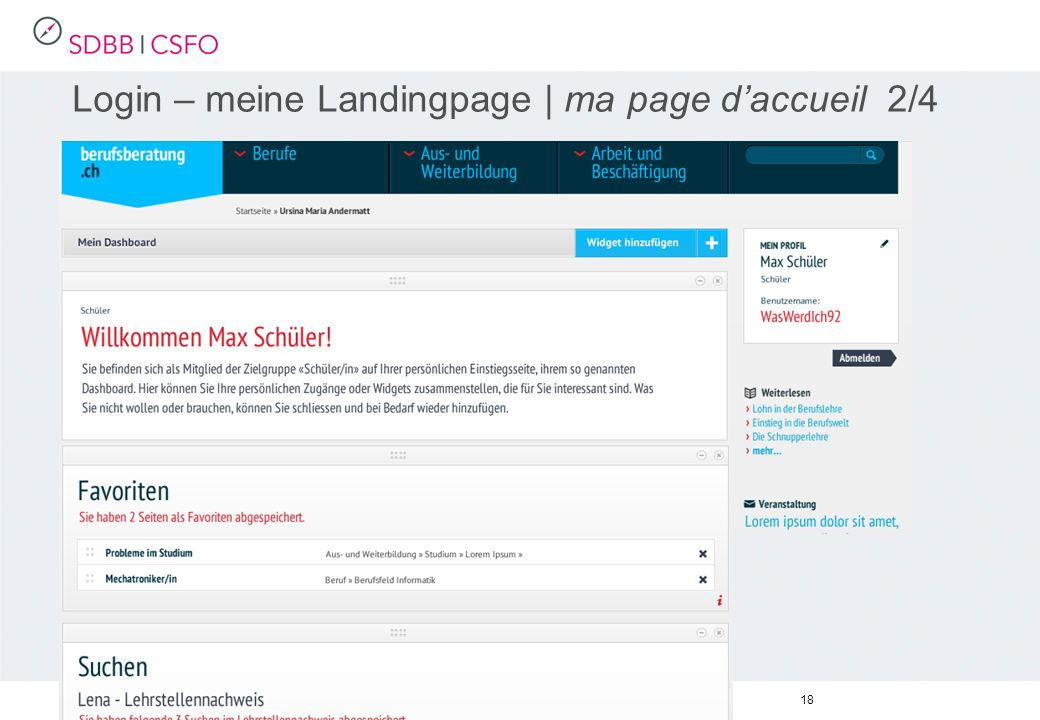18 Login – meine Landingpage | ma page daccueil 2/4
