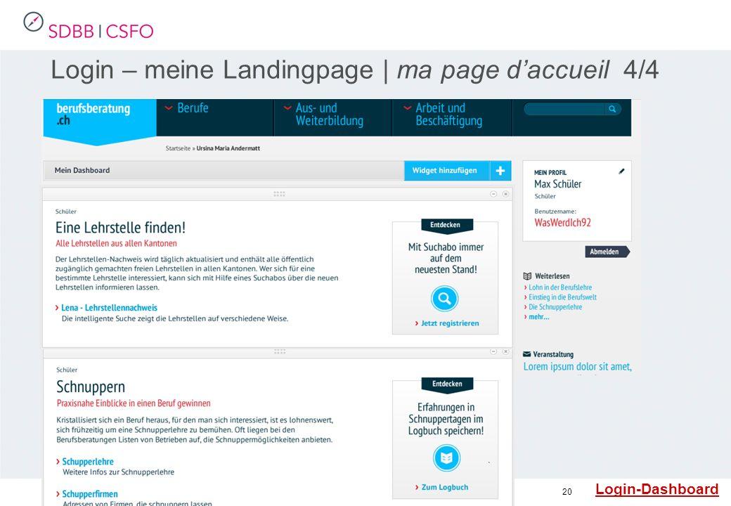 20 Login – meine Landingpage | ma page daccueil 4/4 Login-Dashboard