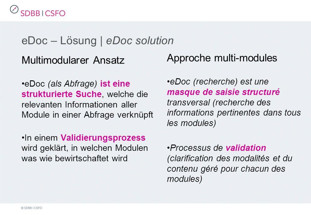 eDoc – Lösung | eDoc solution Multimodularer Ansatz eDoc (als Abfrage) ist eine strukturierte Suche, welche die relevanten Informationen aller Module in einer Abfrage verknüpft In einem Validierungsprozess wird geklärt, in welchen Modulen was wie bewirtschaftet wird Approche multi-modules eDoc (recherche) est une masque de saisie structuré transversal (recherche des informations pertinentes dans tous les modules) Processus de validation (clarification des modalités et du contenu géré pour chacun des modules)