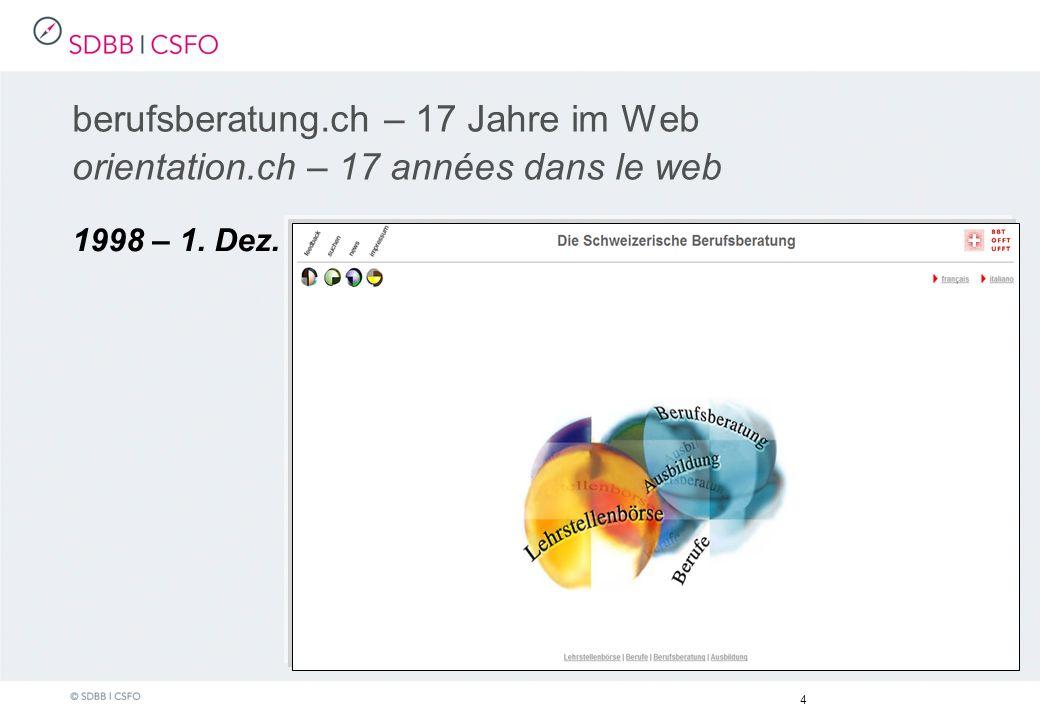 1998 – 1. Dez. 4 berufsberatung.ch – 17 Jahre im Web orientation.ch – 17 années dans le web