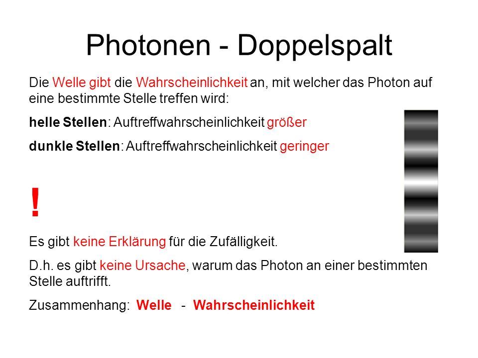 Photonen - Doppelspalt Die Welle gibt die Wahrscheinlichkeit an, mit welcher das Photon auf eine bestimmte Stelle treffen wird: helle Stellen: Auftref