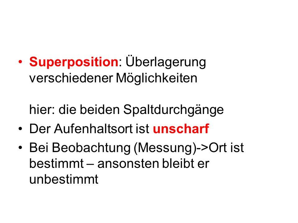 Superposition: Überlagerung verschiedener Möglichkeiten hier: die beiden Spaltdurchgänge Der Aufenhaltsort ist unscharf Bei Beobachtung (Messung)->Ort