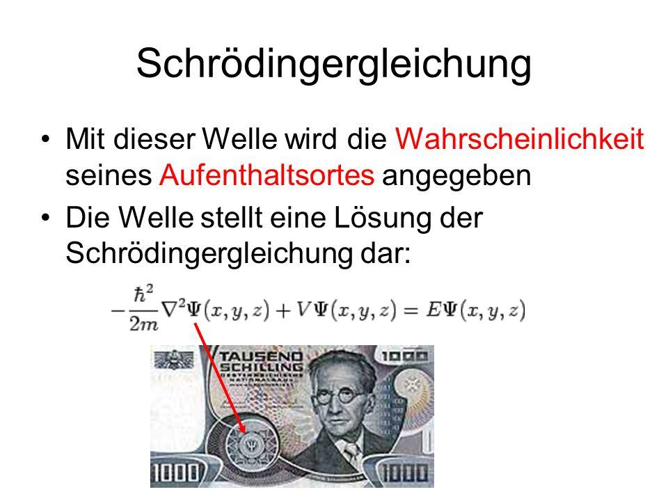Schrödingergleichung Mit dieser Welle wird die Wahrscheinlichkeit seines Aufenthaltsortes angegeben Die Welle stellt eine Lösung der Schrödingergleich