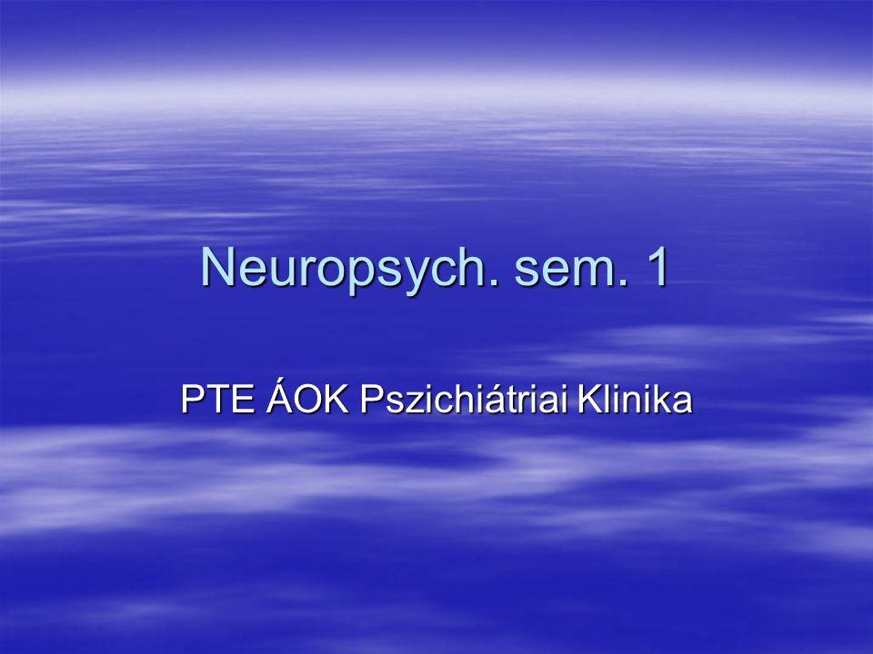 Neuropsych. sem. 1 PTE ÁOK Pszichiátriai Klinika