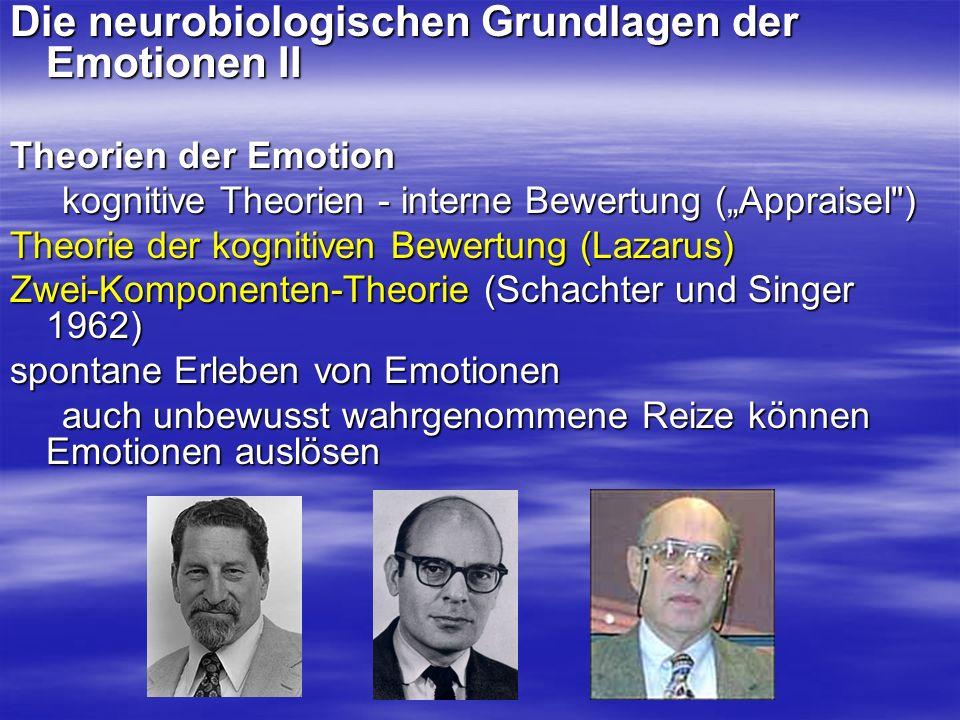 Die neurobiologischen Grundlagen der Emotionen II Theorien der Emotion kognitive Theorien - interne Bewertung (Appraisel