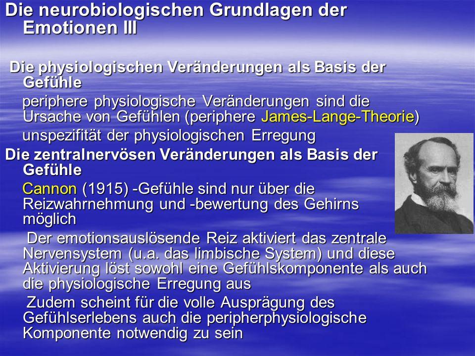 Die neurobiologischen Grundlagen der Emotionen III Die physiologischen Veränderungen als Basis der Gefühle Die physiologischen Veränderungen als Basis