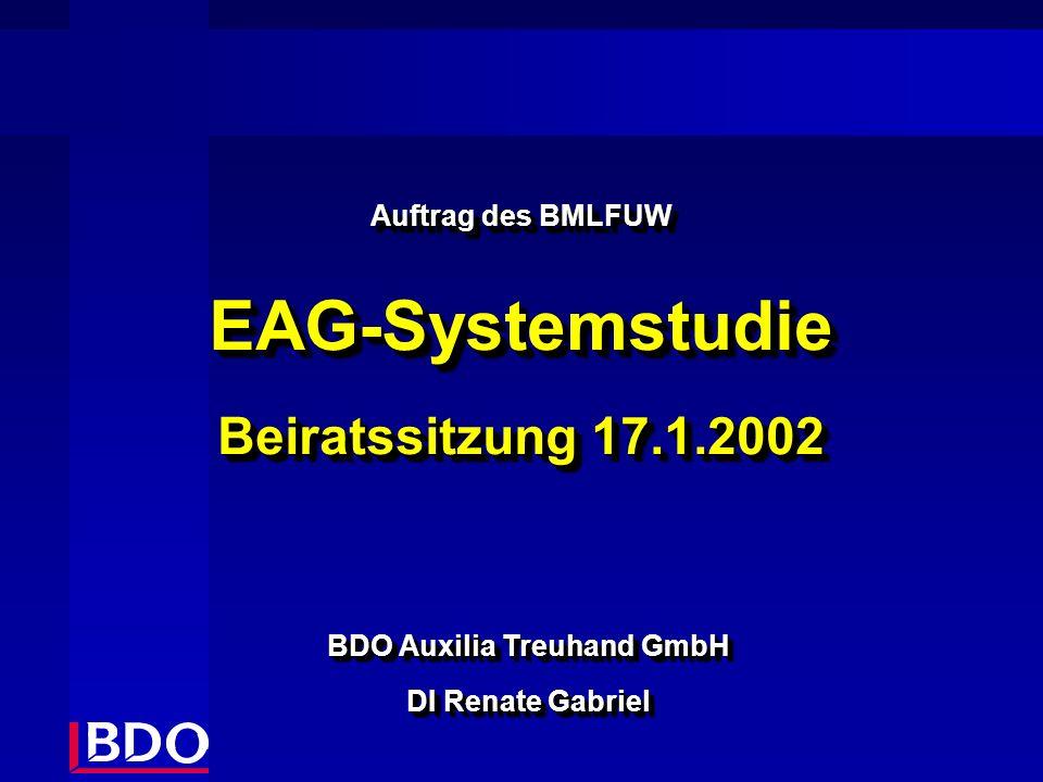 Auftrag des BMLFUW EAG-Systemstudie Beiratssitzung 17.1.2002 Auftrag des BMLFUW EAG-Systemstudie Beiratssitzung 17.1.2002 BDO Auxilia Treuhand GmbH DI Renate Gabriel BDO Auxilia Treuhand GmbH DI Renate Gabriel