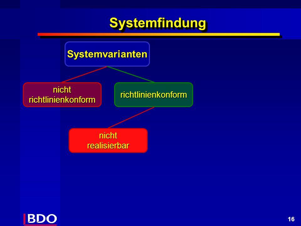 16 SystemfindungSystemfindung Systemvarianten nicht richtlinienkonform richtlinienkonform nicht realisierbar