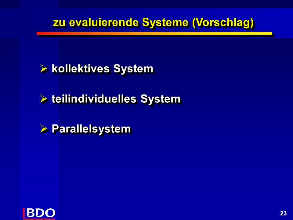 23 kollektives System kollektives System teilindividuelles System teilindividuelles System Parallelsystem Parallelsystem kollektives System kollektives System teilindividuelles System teilindividuelles System Parallelsystem Parallelsystem zu evaluierende Systeme (Vorschlag)