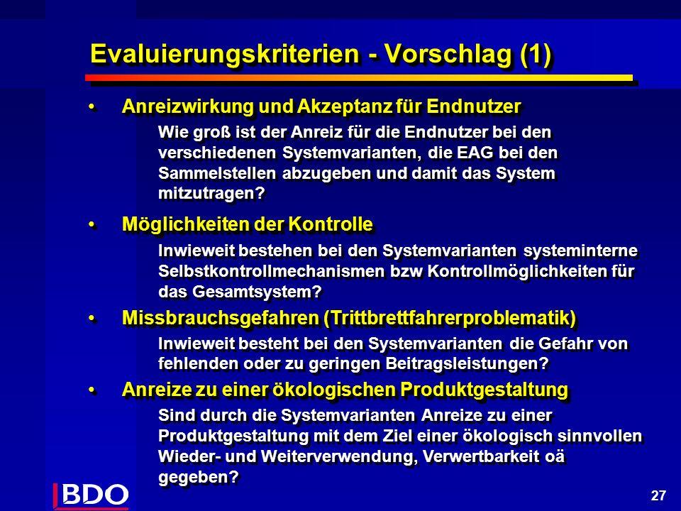 27 Evaluierungskriterien - Vorschlag (1) Anreizwirkung und Akzeptanz für EndnutzerAnreizwirkung und Akzeptanz für Endnutzer Wie groß ist der Anreiz für die Endnutzer bei den verschiedenen Systemvarianten, die EAG bei den Sammelstellen abzugeben und damit das System mitzutragen.