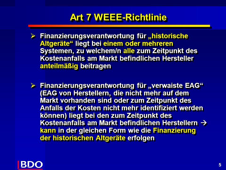 5 Art 7 WEEE-Richtlinie Finanzierungsverantwortung für historische Altgeräte liegt bei einem oder mehreren Systemen, zu welchem/n alle zum Zeitpunkt des Kostenanfalls am Markt befindlichen Hersteller anteilmäßig beitragen Finanzierungsverantwortung für historische Altgeräte liegt bei einem oder mehreren Systemen, zu welchem/n alle zum Zeitpunkt des Kostenanfalls am Markt befindlichen Hersteller anteilmäßig beitragen Finanzierungsverantwortung für verwaiste EAG (EAG von Herstellern, die nicht mehr auf dem Markt vorhanden sind oder zum Zeitpunkt des Anfalls der Kosten nicht mehr identifiziert werden können) liegt bei den zum Zeitpunkt des Kostenanfalls am Markt befindlichen Herstellern kann in der gleichen Form wie die Finanzierung der historischen Altgeräte erfolgen Finanzierungsverantwortung für verwaiste EAG (EAG von Herstellern, die nicht mehr auf dem Markt vorhanden sind oder zum Zeitpunkt des Anfalls der Kosten nicht mehr identifiziert werden können) liegt bei den zum Zeitpunkt des Kostenanfalls am Markt befindlichen Herstellern kann in der gleichen Form wie die Finanzierung der historischen Altgeräte erfolgen Finanzierungsverantwortung für historische Altgeräte liegt bei einem oder mehreren Systemen, zu welchem/n alle zum Zeitpunkt des Kostenanfalls am Markt befindlichen Hersteller anteilmäßig beitragen Finanzierungsverantwortung für historische Altgeräte liegt bei einem oder mehreren Systemen, zu welchem/n alle zum Zeitpunkt des Kostenanfalls am Markt befindlichen Hersteller anteilmäßig beitragen Finanzierungsverantwortung für verwaiste EAG (EAG von Herstellern, die nicht mehr auf dem Markt vorhanden sind oder zum Zeitpunkt des Anfalls der Kosten nicht mehr identifiziert werden können) liegt bei den zum Zeitpunkt des Kostenanfalls am Markt befindlichen Herstellern kann in der gleichen Form wie die Finanzierung der historischen Altgeräte erfolgen Finanzierungsverantwortung für verwaiste EAG (EAG von Herstellern, die nicht mehr auf dem Markt vorhanden sind oder 