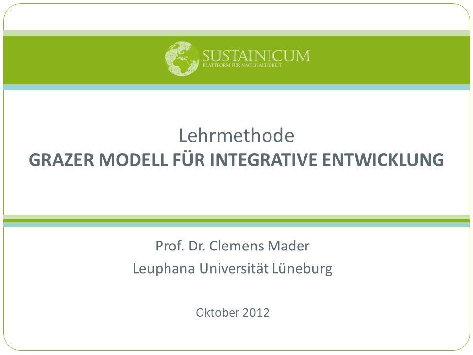 HINTERGRUND & ZIEL Das Grazer Modell für Integrative Entwicklung dient dazu Nachhaltigkeitsprozesse: ganzheitlich zu reflektieren, zu evaluieren sowie Hilfestellung bei der Planung und Weiterentwicklung zu geben.