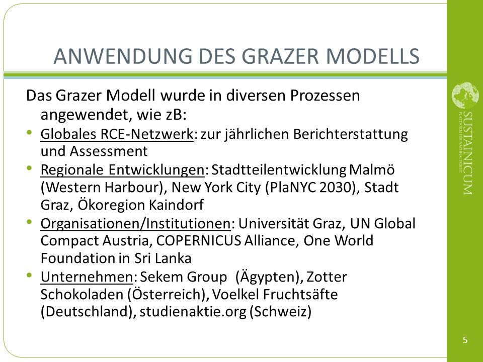 ANWENDUNG DES GRAZER MODELLS Das Grazer Modell wurde in diversen Prozessen angewendet, wie zB: Globales RCE-Netzwerk: zur jährlichen Berichterstattung