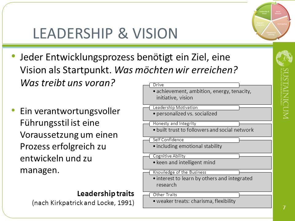 LEADERSHIP & VISION Jeder Entwicklungsprozess benötigt ein Ziel, eine Vision als Startpunkt. Was möchten wir erreichen? Was treibt uns voran? 7 Ein ve