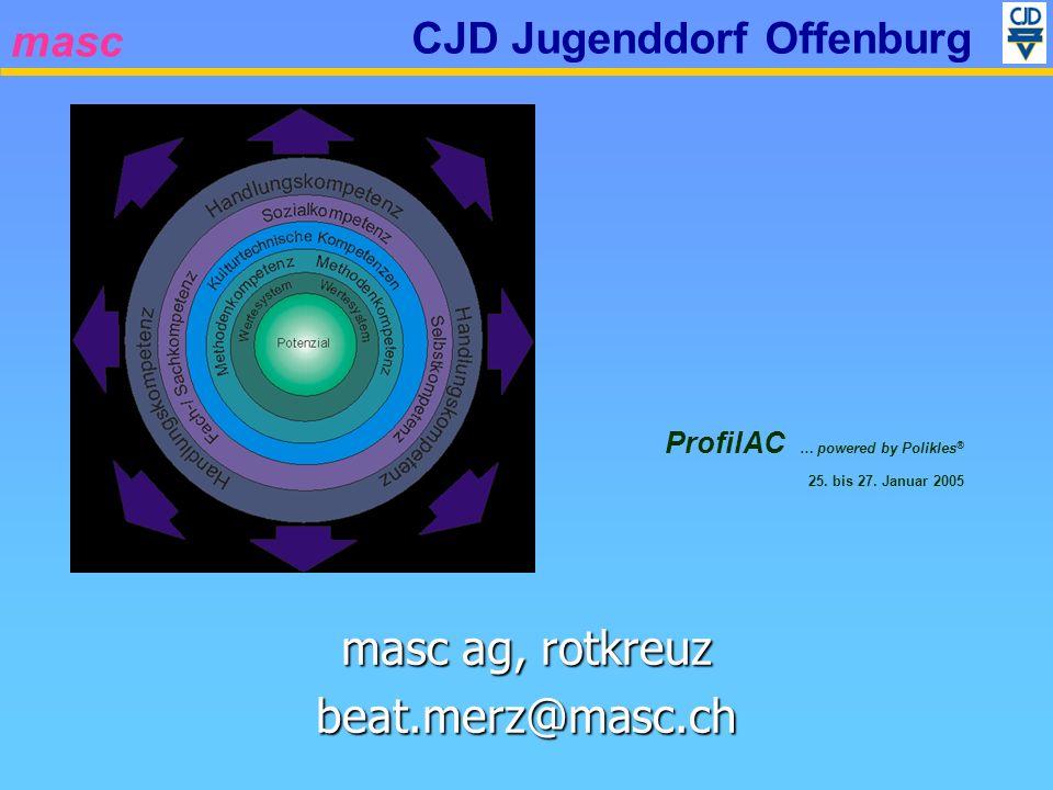 masc CJD Jugenddorf Offenburg Systemüberblick und Anforderungen Neuerungen Version 1.1.0 – 1.4.0 Technische Demonstration Hints und Tipps (in Demo integriert) Ihre Fragen Themenübersicht Vormittag (Alle) Nachmittag (Individuell) Installationshinweise Einstellungen / Settings