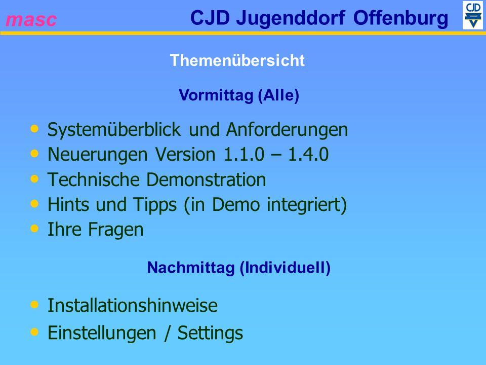 masc CJD Jugenddorf Offenburg Systemüberblick und Anforderungen Neuerungen Version 1.1.0 – 1.4.0 Technische Demonstration Hints und Tipps (in Demo int