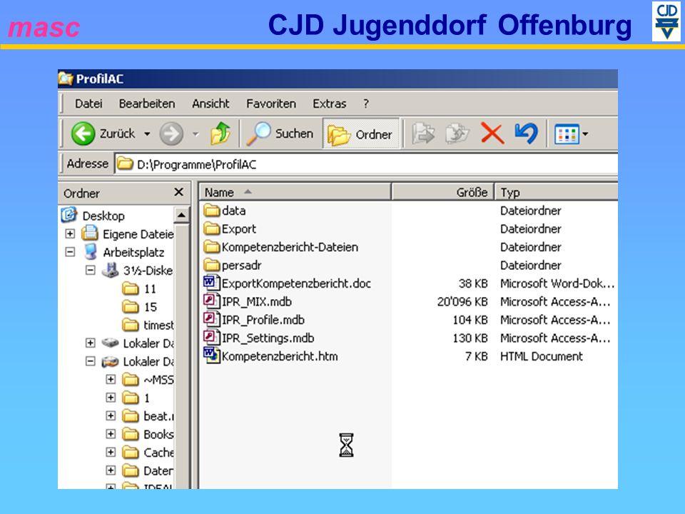 masc CJD Jugenddorf Offenburg Systemanforderungen Prozessor Pentium II mit 450 MHz Pentium II mit 450 MHz Pentium III mit 600 MHz Pentium III mit 600 MHzBetriebssystem Windows XP (Pro/Home) Windows XP (Pro/Home) Windows 2000, SP4 oder Windows 2000, SP4 oder höher höher (Windows 98) (Windows 98) Arbeitsspeicher (RAM) Windows 2000 – 96 MB Windows 2000 – 96 MB Windows XP – 160 MB Windows XP – 160 MBSonstigesDruckertreiber MS Word XP Acrobat Reader
