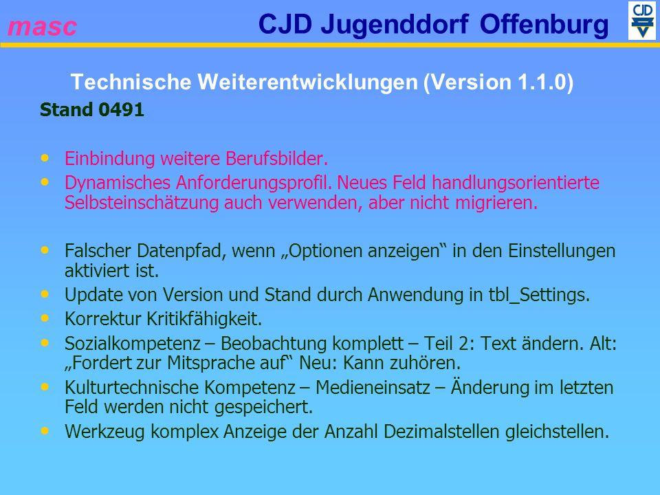 masc CJD Jugenddorf Offenburg Stand 0491 Einbindung weitere Berufsbilder. Dynamisches Anforderungsprofil. Neues Feld handlungsorientierte Selbsteinsch