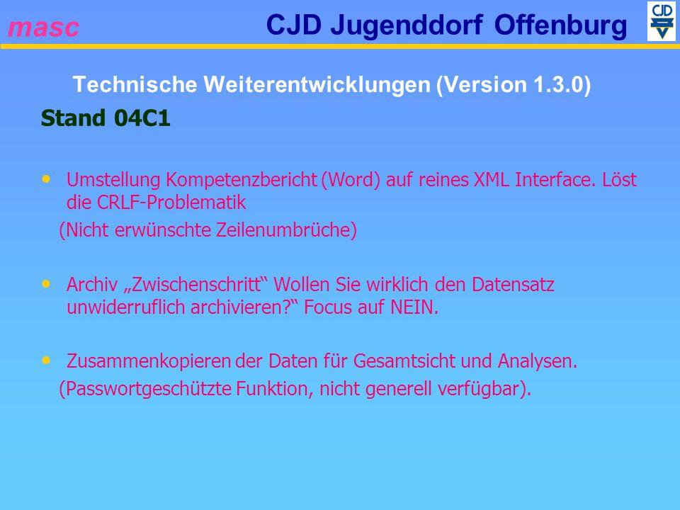 masc CJD Jugenddorf Offenburg Stand 04C1 Umstellung Kompetenzbericht (Word) auf reines XML Interface. Löst die CRLF-Problematik (Nicht erwünschte Zeil