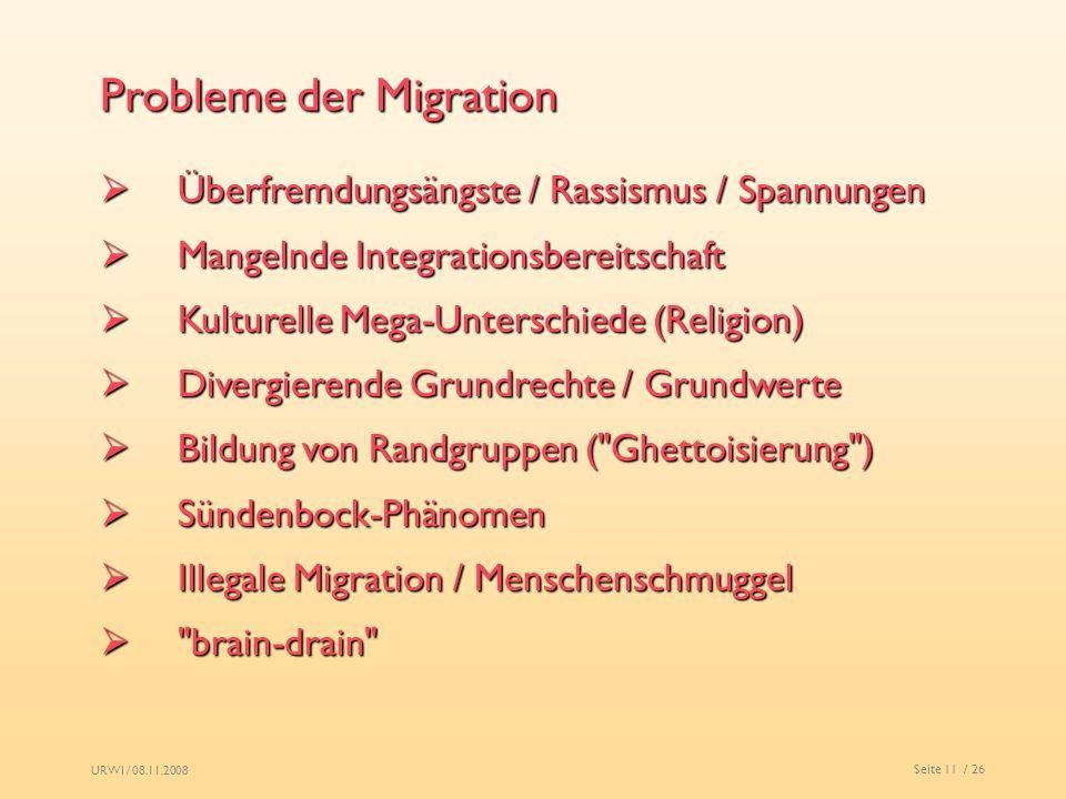 URWI / 08.11.2008 Seite 11 / 26 Probleme der Migration Überfremdungsängste / Rassismus / Spannungen Überfremdungsängste / Rassismus / Spannungen Mange
