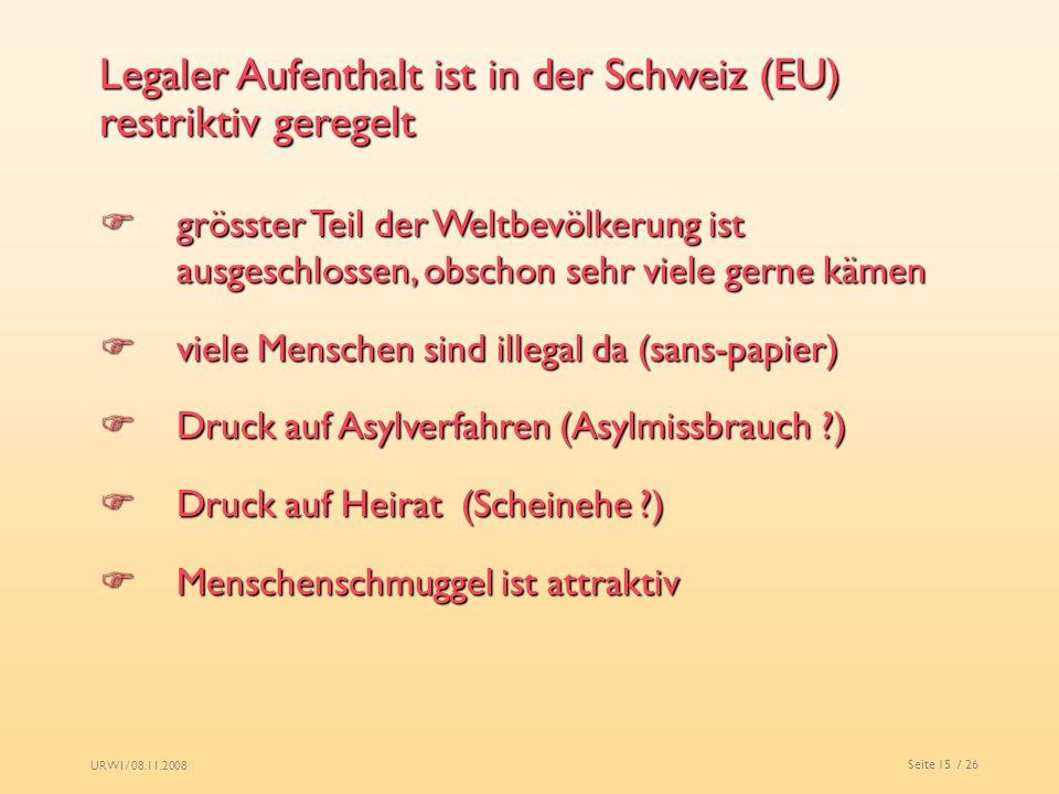 URWI / 08.11.2008 Seite 15 / 26 Legaler Aufenthalt ist in der Schweiz (EU) restriktiv geregelt grösster Teil der Weltbevölkerung ist ausgeschlossen, o